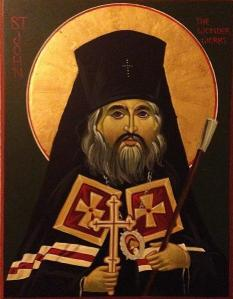 An icon of St John Maximovitch by the hand of Tom Denich