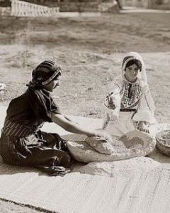 Palestinian women making bread